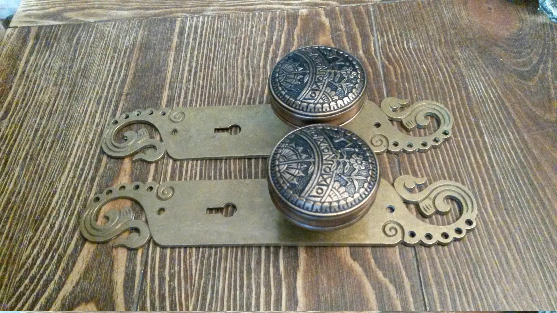 Set of 2 Large Brass Eastlake Victorian Antique Hardware Drawer Pull Knob Ring