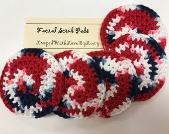 """3.5"""" Crocheted Face Pads / Skin Cleansing Rounds / Exfoliate Makeup Scrubbies / Facial"""