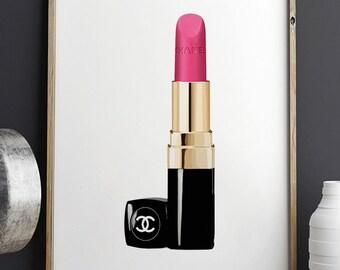 PINK LIPSTICK,MAKEUP Sign, Lipstick Tube,Gift For Her,Fashion Illustration,Fashionista,Makeup Illustration,Girly Print,Girls Room Decor