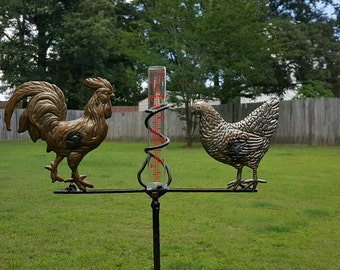 Weathervanes & Lightning Rods Beautiful Farmhouse Weathervane Weather Vane Rooster On Wooden Base Rustic White One-sided
