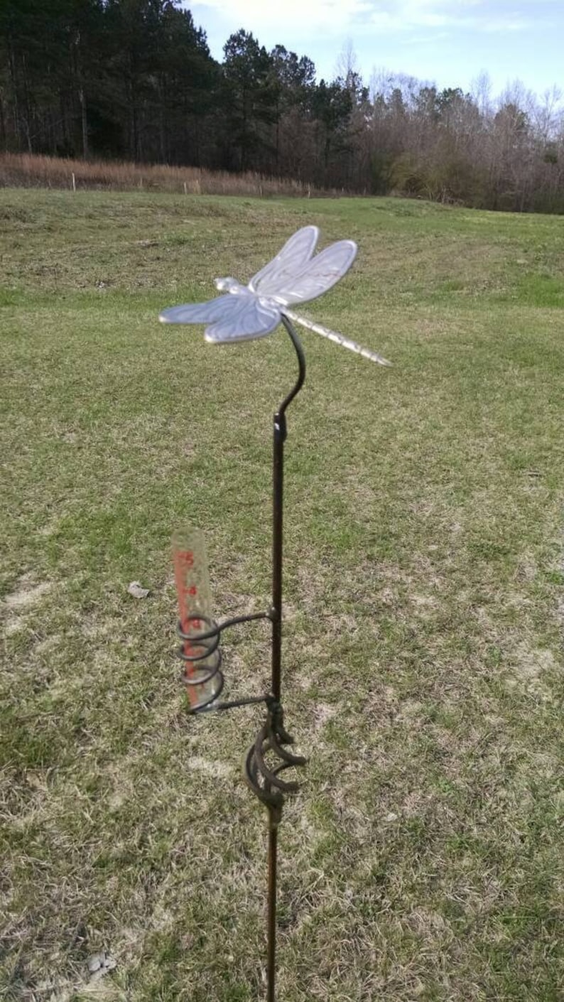 Dragonfly Rain Gauge by BottleTreeBob.com  Includes Rain image 0