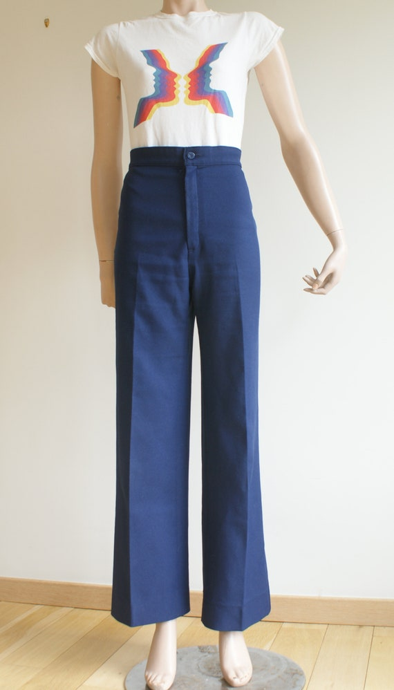 Vintage LEVI'S High Waisted Navy Trousers - image 2