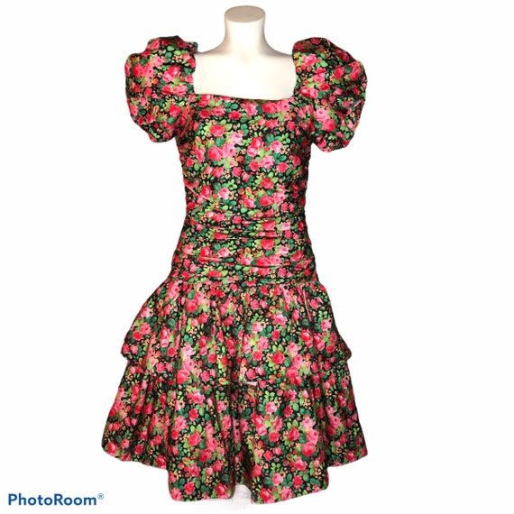 Vintage 80's Puff Sleeve Ruched Layered Dress with