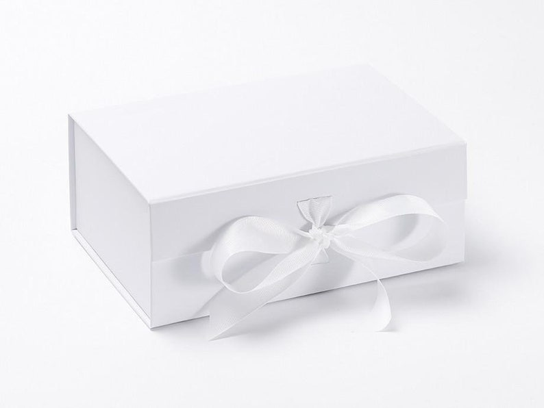 Medium Gift Box Luxury White Gift Box Deep Keepsakes Box image 0