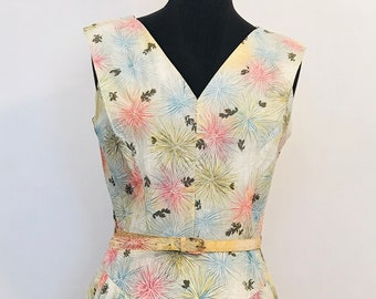 50/'s Cotton Firework flowers V neck dress