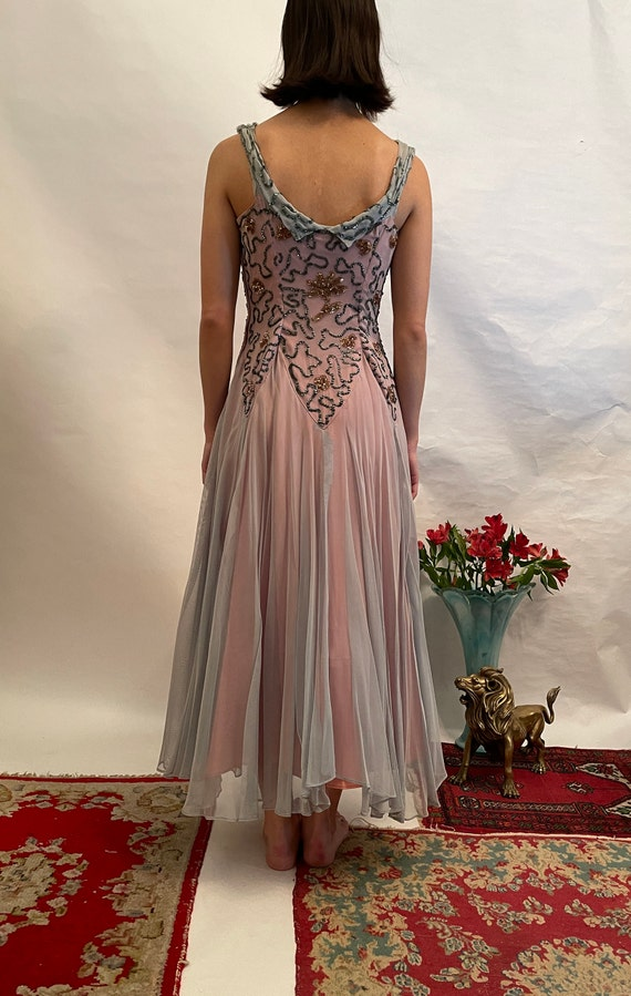 50's blue and pink dress w/ sequins, sequin dress… - image 4