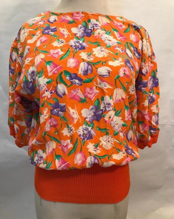 80s Ungaro Floral Silk Crop Top, silk top, 80s top