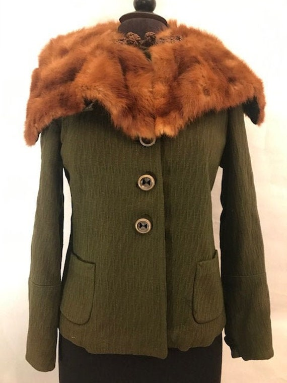 40's Dark Green Jacket with Attached Fur, 40's jac