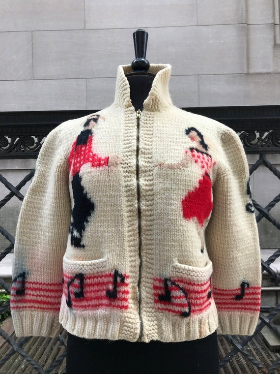 50's hand knitted sweater w/ musical notes