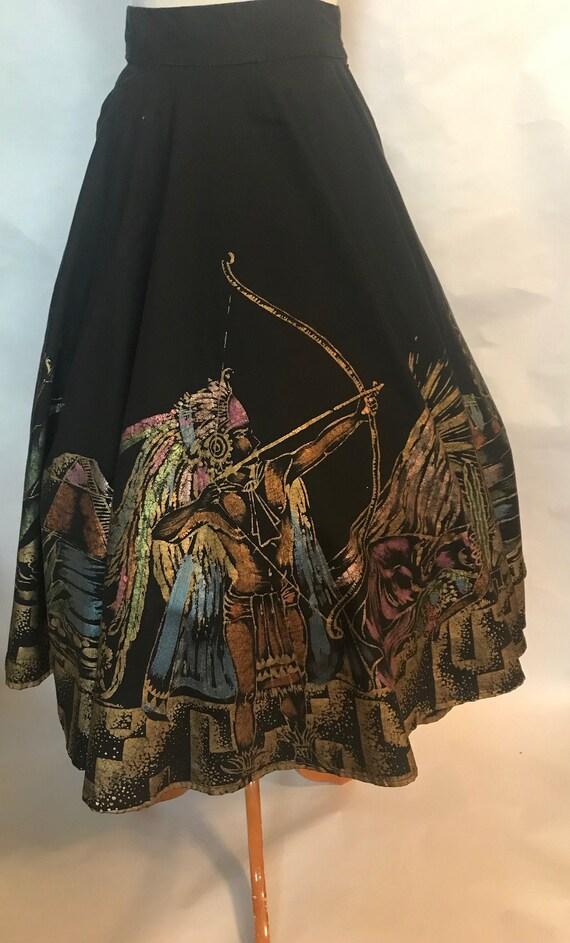 40s Mayan Motif Circle Skirt