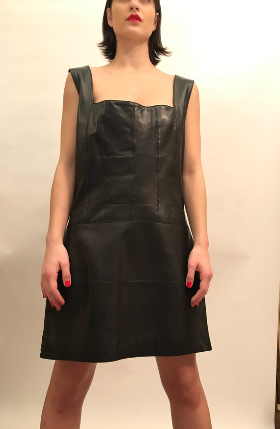 Claude Montana Black Leather Dress with Double Sid
