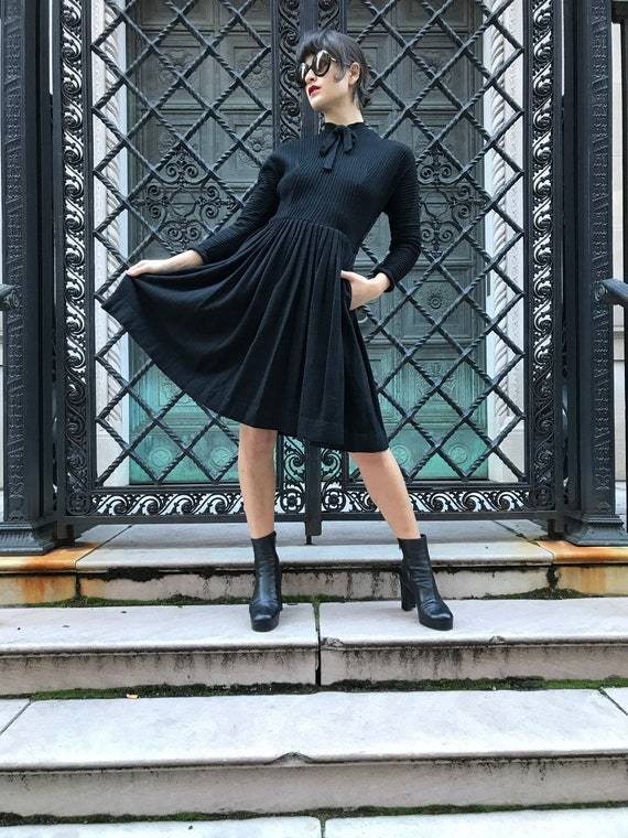 60's Jonathan Logan black wool dress