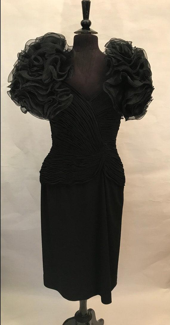 80's Black Dress with Ruffles, 80's dress, Black d