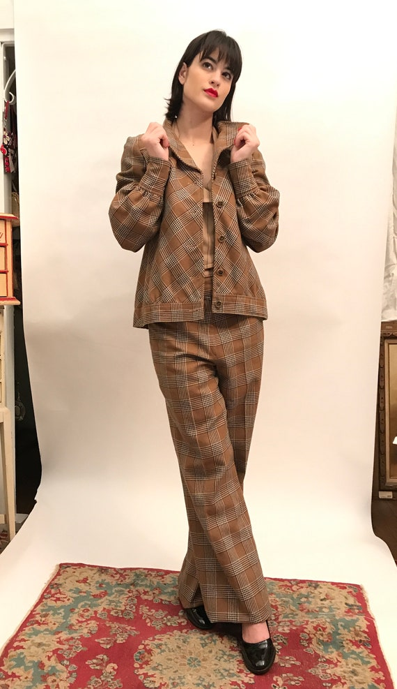 70's brown plaid jacket/pants polywool suit