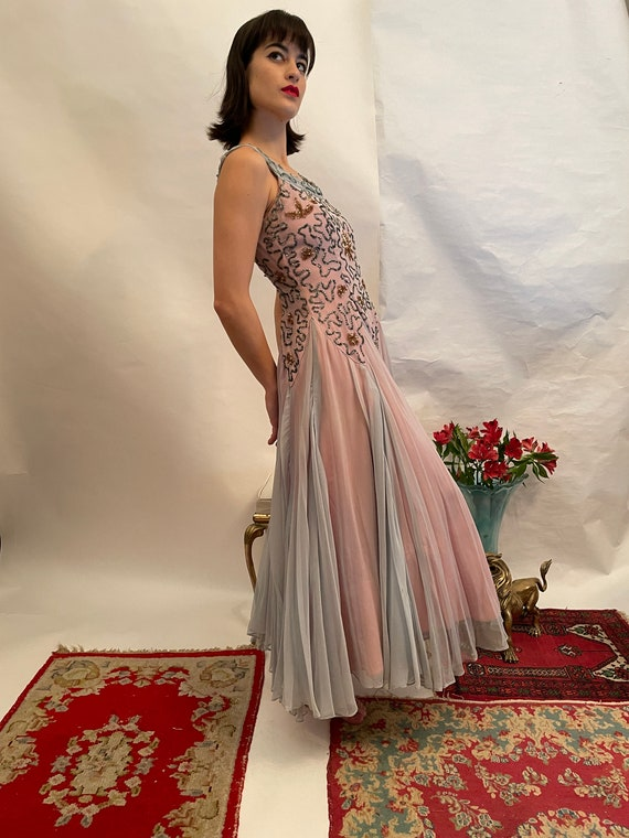 50's blue and pink dress w/ sequins, sequin dress… - image 3
