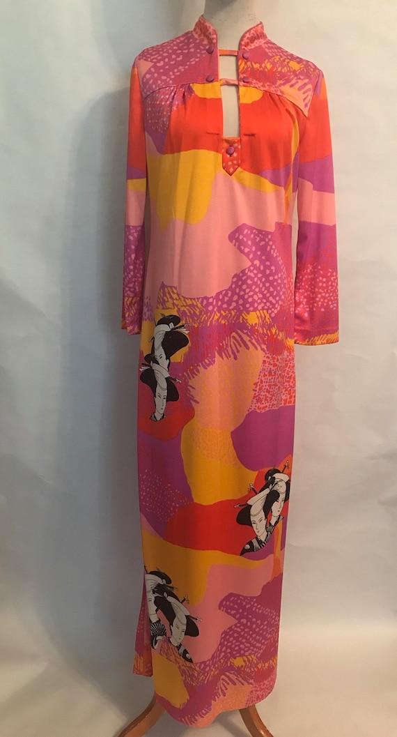 Mr. Dino 70s Maxi dress with Asian Motif