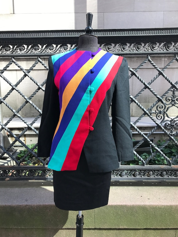 80's Lilli Ann, Green red purple blue wool jacket,
