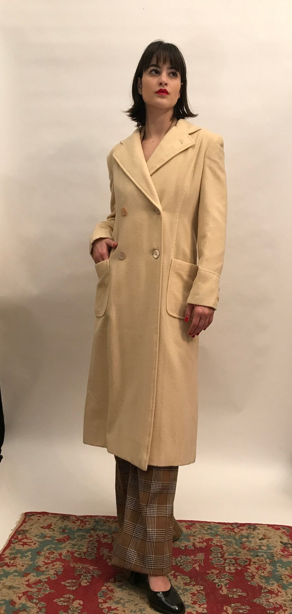 70's winter white wool double breasted coat - Wint