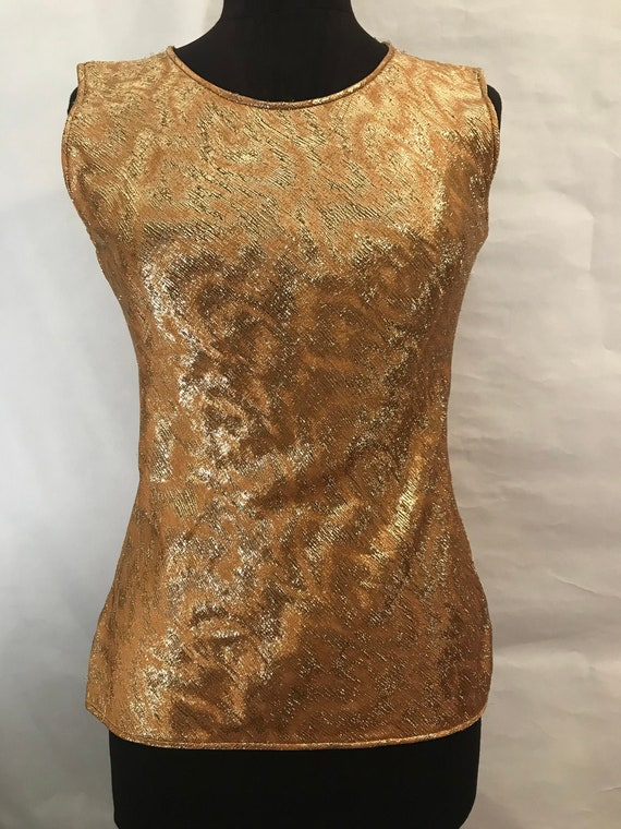 70's Adolfo Silk Gold Lame Top, Silk top, Gold top