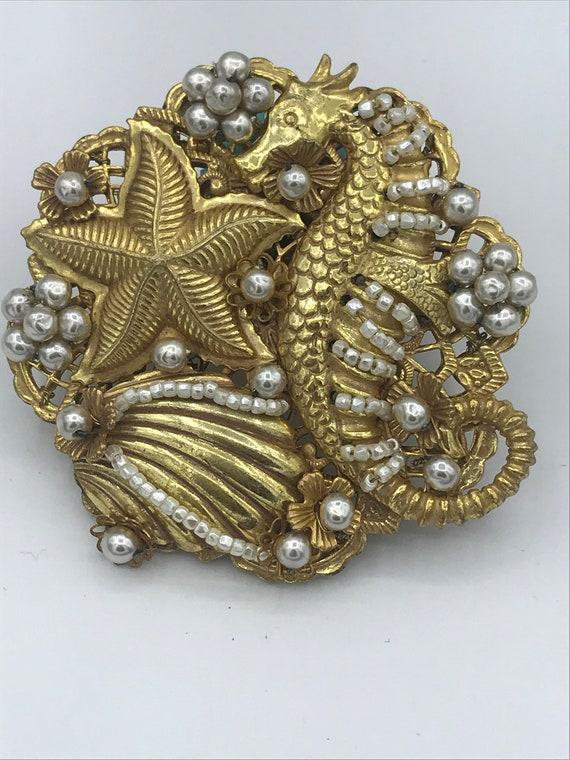 50's Miriam Haskell gold brooch w/ aquatic detail,
