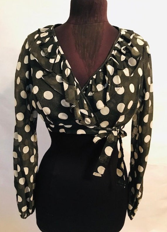 60's Black Polka Dot Wrap Top
