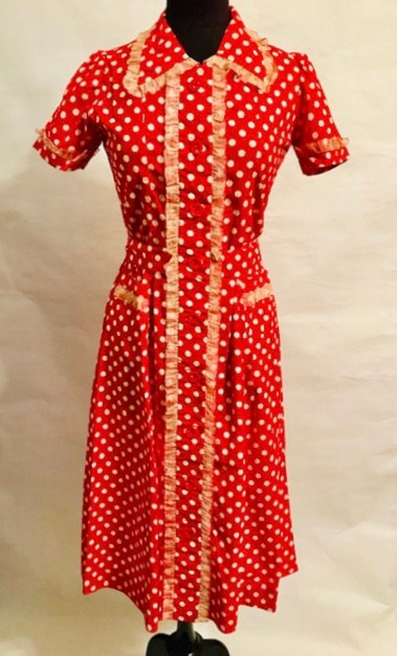 30's Cotton Red Polka Dot with Lace All Around Dre