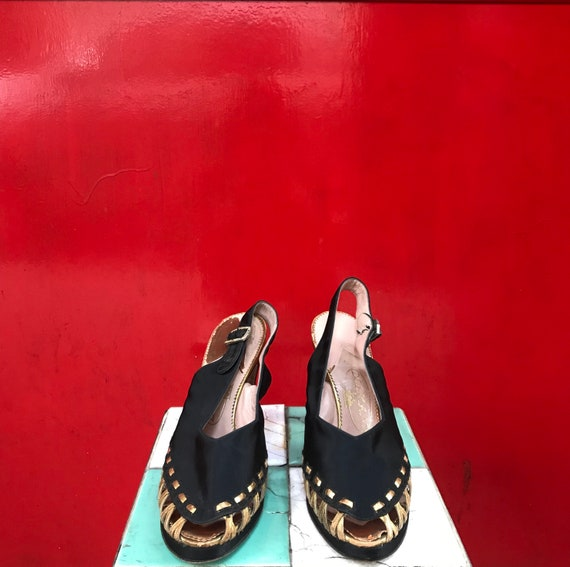 40's Delman black satin and gold heels