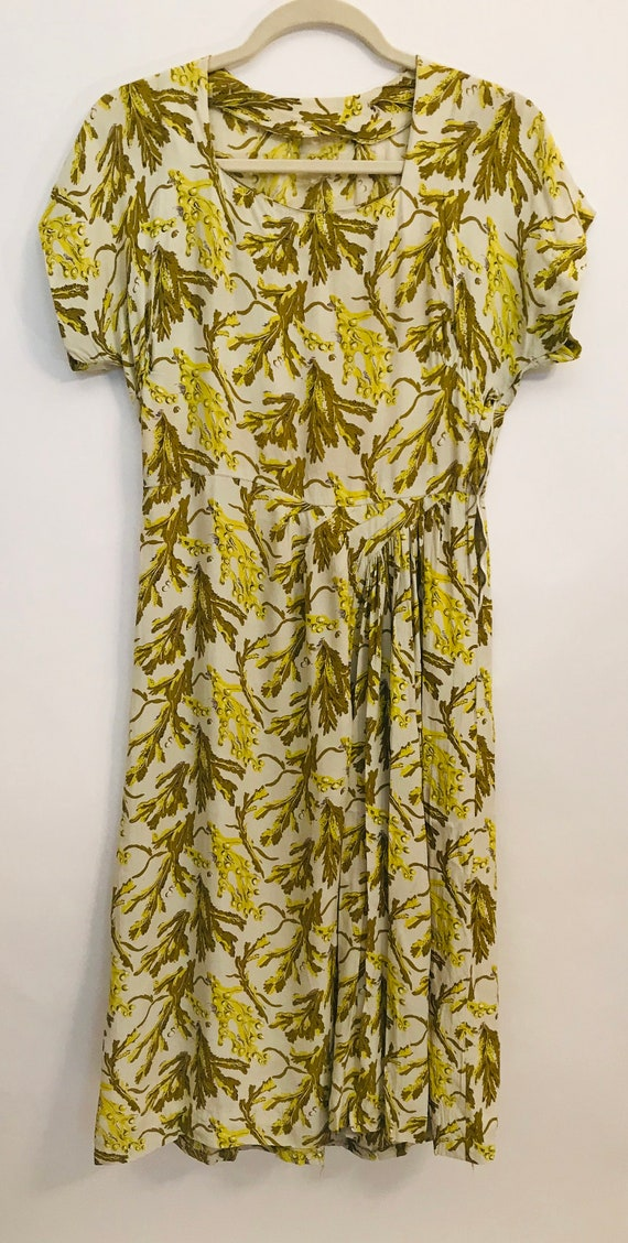 40's Rayon dress Cream green and yellow floral des