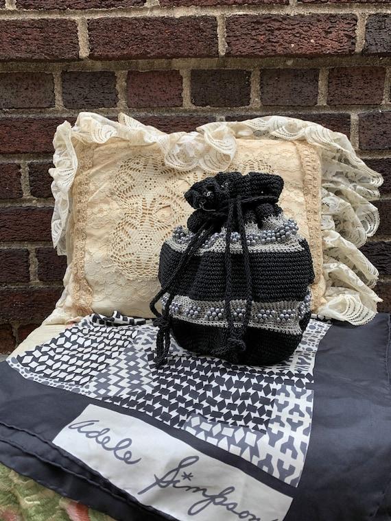40's black and silver crochet drawstring bag