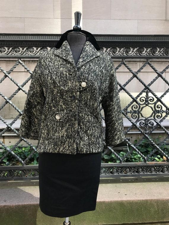 50's black and white tweed jacket