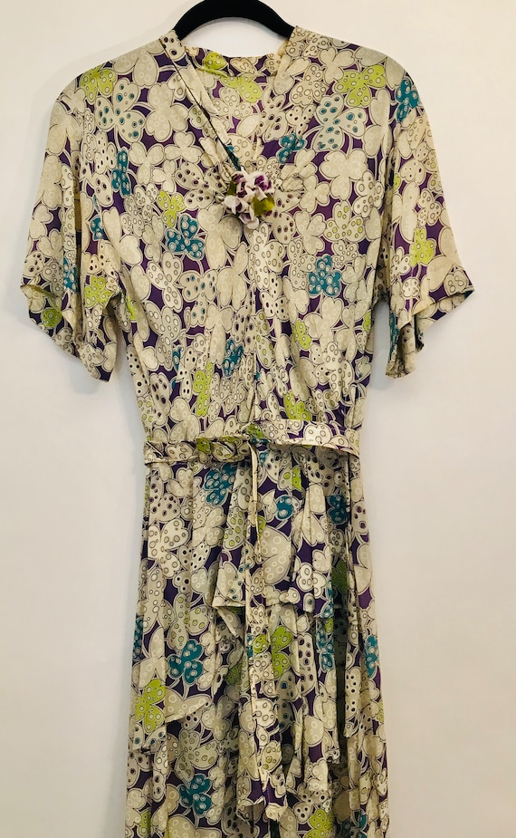 40s rayon purple floral dress