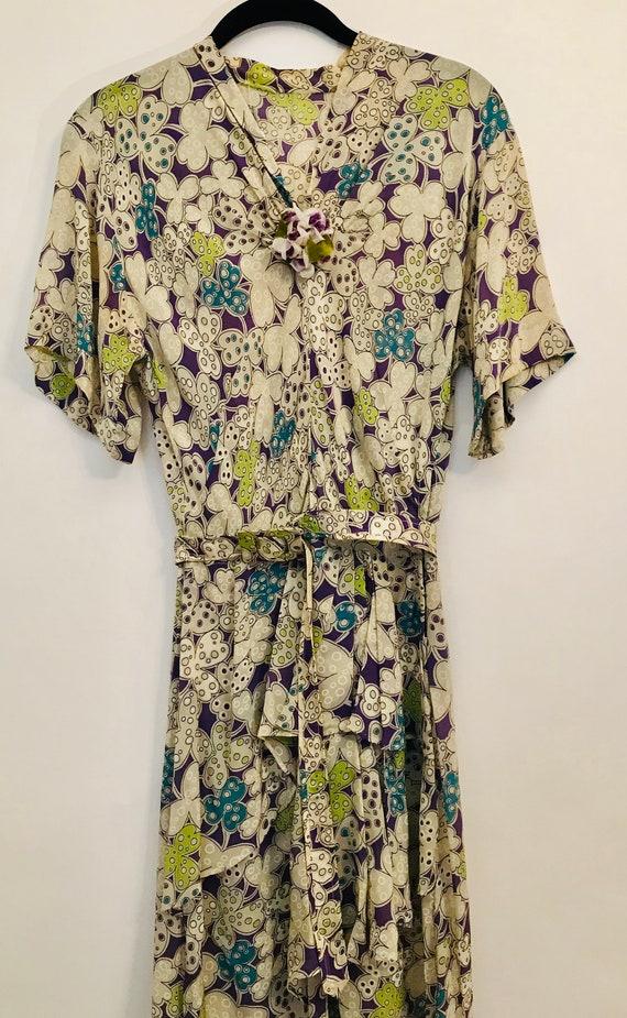 40s rayon purple floral dress
