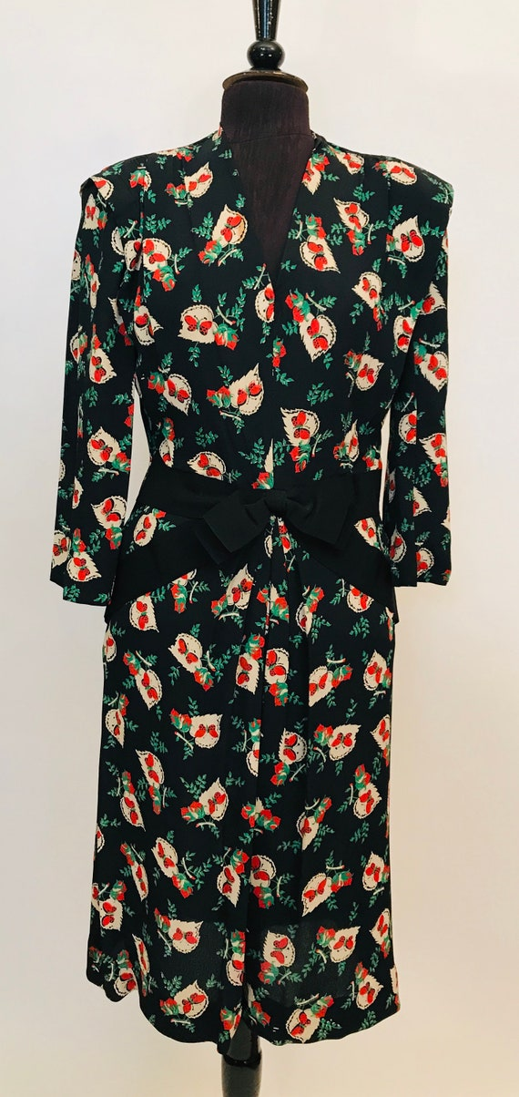 40's Rayon floral dress W Butterflies