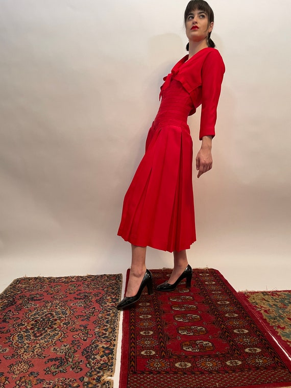 50's Red Dress and Bolero, red dress, vintage set,
