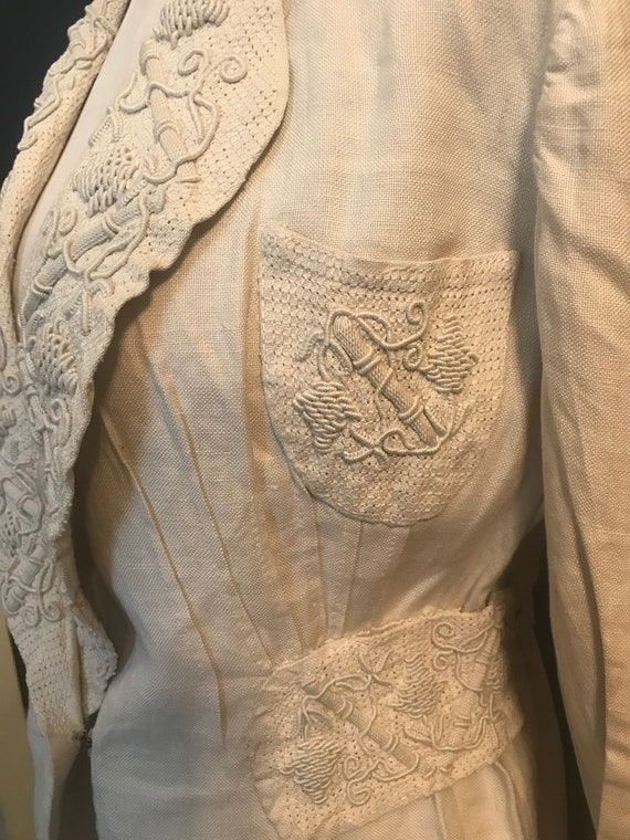 19th Century Embroidered Linen Suit - image 6