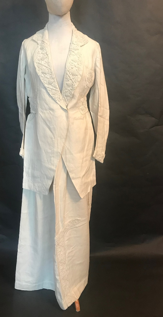 19th Century Embroidered Linen Suit - image 1
