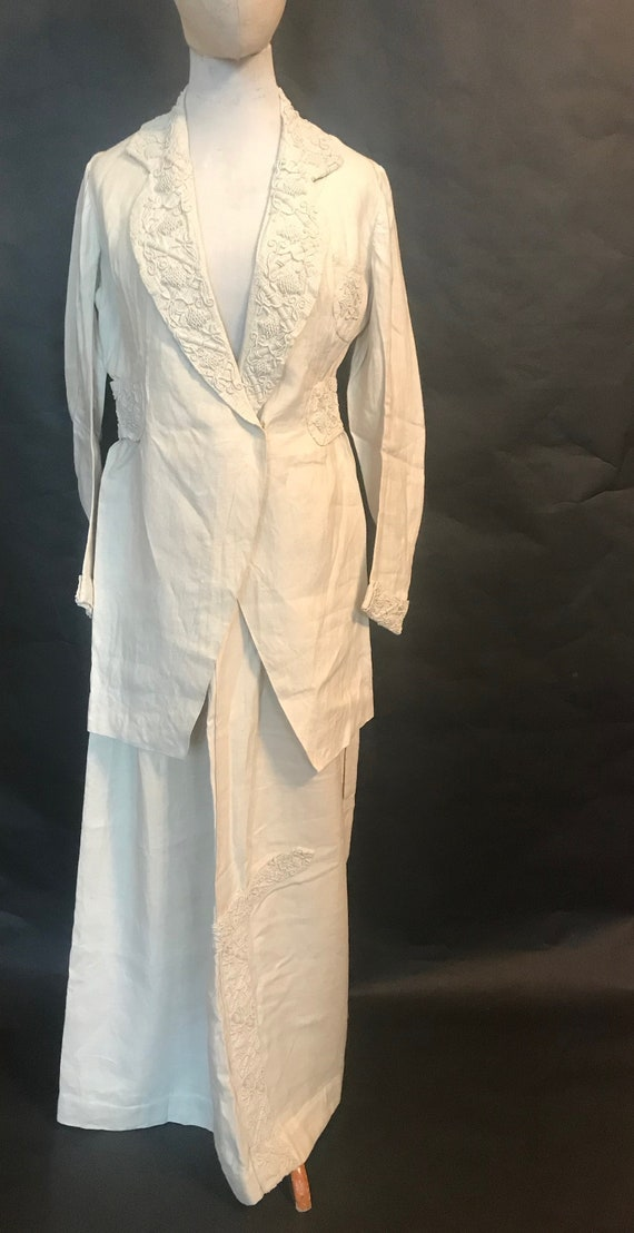 19th Century Embroidered Linen Suit