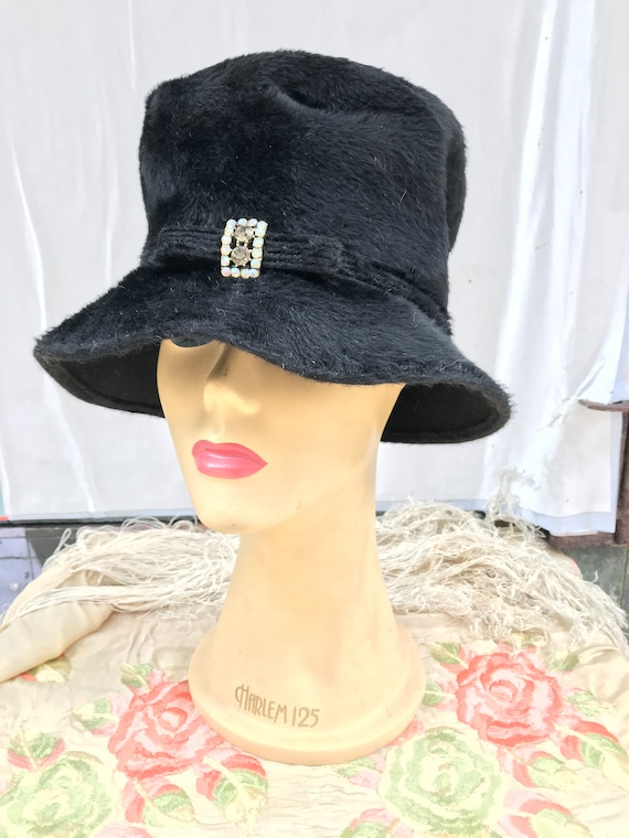 60's Martelle black Fur/Felt Hat
