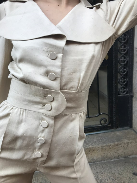 70's Arnold Scaasi cream color, Row silk Pantsuit - image 5