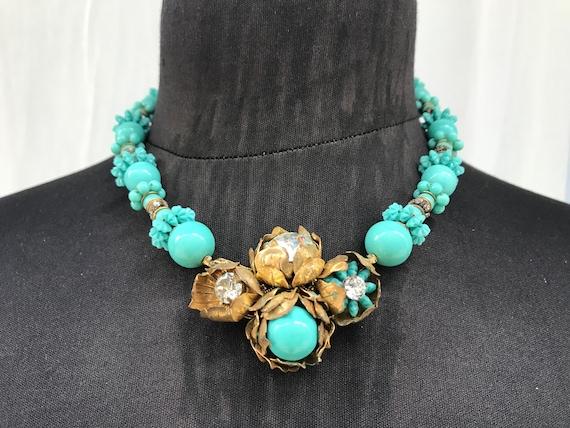 30's Miriam Haskell rare Aqua Glass Beaded necklac