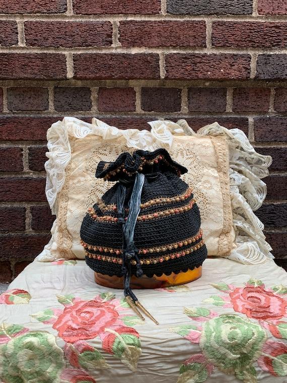 40's black and gold crochet drawstring bag
