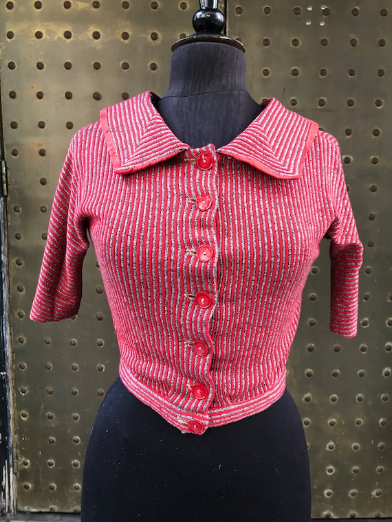 40's red and gray striped cardigan
