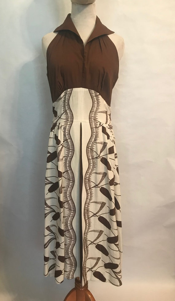 60s Linen Brown and White Halter Maxi Dress