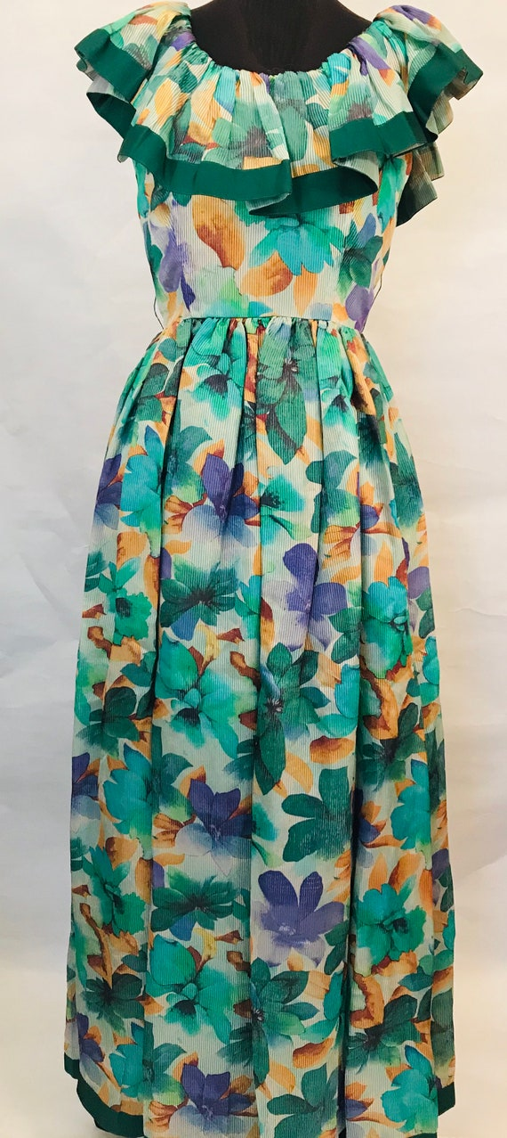 80's William Pearson Gown, 80's gown, floral gown,