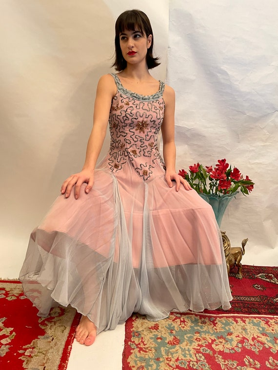 50's blue and pink dress w/ sequins, sequin dress,
