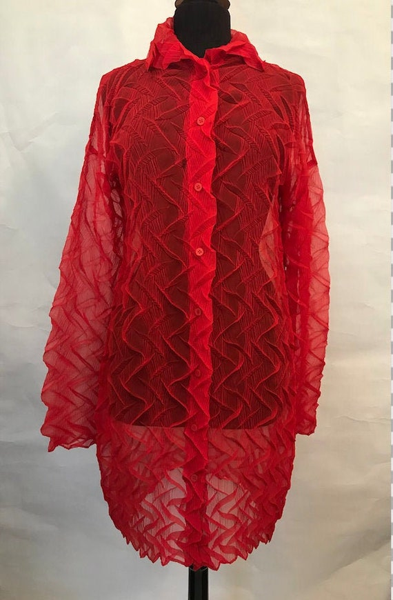 80's Red Issey Miyake Permanente Crinkled Shirt