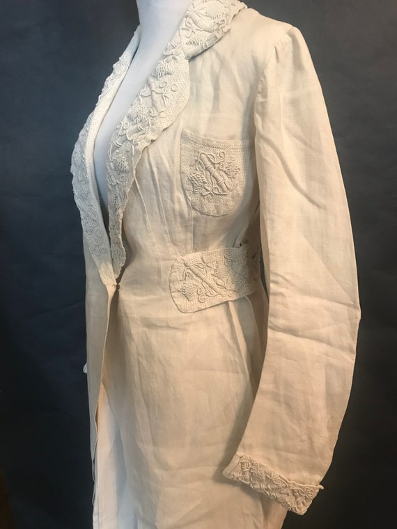 19th Century Embroidered Linen Suit - image 3