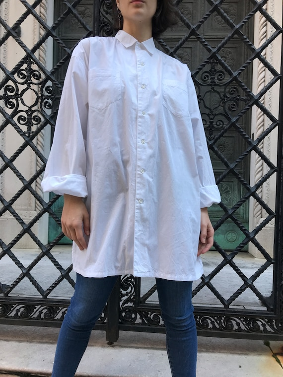 80's Stephen Sprouse white cotton button down top