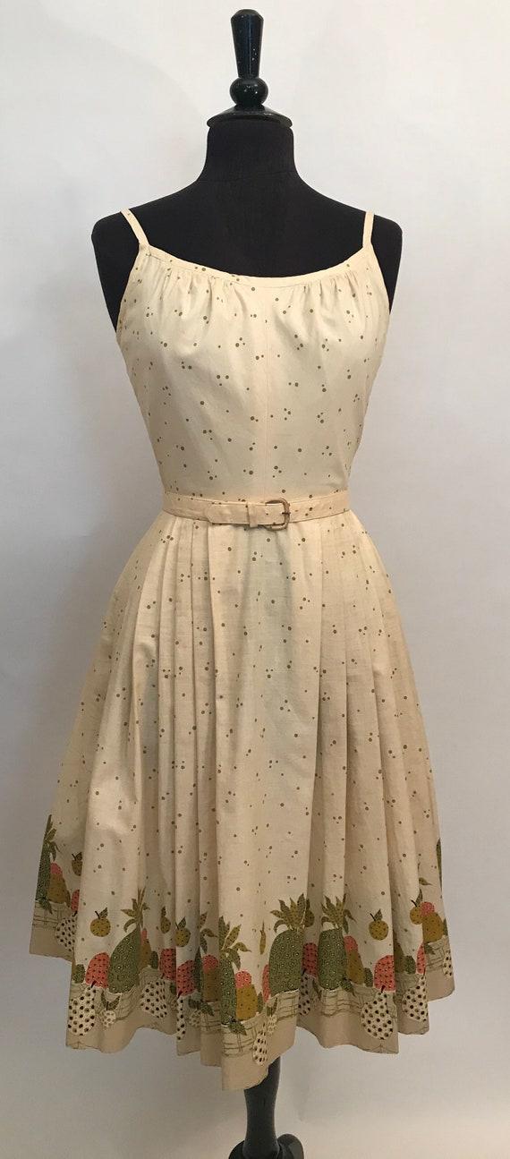 50's cotton fruit motif dress w/ spaghetti straps