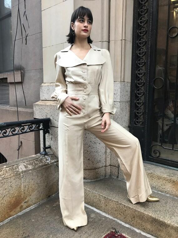 70's Arnold Scaasi cream color, Row silk Pantsuit - image 2